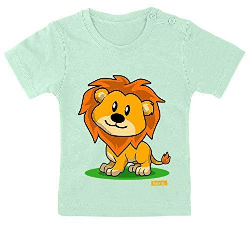 HARIZ Baby T-Shirt Süßer Löwe Tiere Zoo Inkl. Geschenk Karte Zahnpasta Grün 3-9 Monate / 60-69cm (Süß Aber Heiße Kostüm)