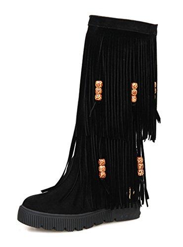 YE Damen keilabsatz Plateau Stiefel mit Fransen 6cm Heels Height Increasing Dicke Sohle Herbst Winter Schuhe Mid Calf Boots Schwarz