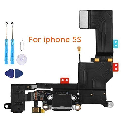Connettore Dock di Ricambio per iPhone 5S Nero con Tramite Porta USB Cavo Flex Microfono Audio Jack Antenna e Tasto Home Utensili Inclusi