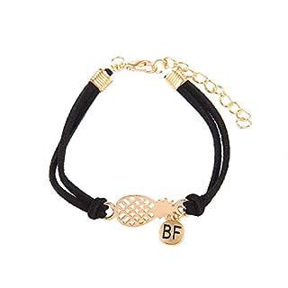 Gysad 1pcs Armband Frauen Armkette Damen Verstellbare Kette Ananas-Buchstabe BF Armband für Frauen Muttertagsgeschenk/Geburtstagsgeschenk/Abschlussgeschenk(17+5cm)#4
