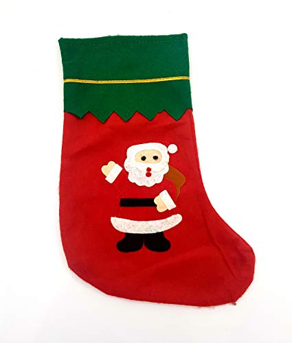 Takestop® set 3 pezzi calze calza befana rosso babbo natale verde 33 cm tessuto merry christmas decorazioni natale addobbi albero camino caminetto