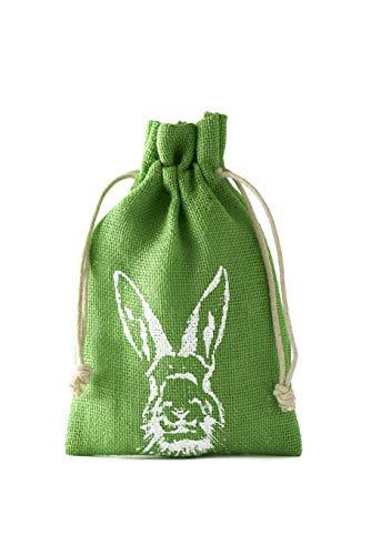 organzabeutel24 | 12 Jute-Beutel, Jute-Säckchen in grün mit Hasen-Motiv, 100% Jute, Baumwollkordel zum Zuziehen, Ostern, Dekoration, Geschenkverpackung, Aufbewahrung (23x15 cm)