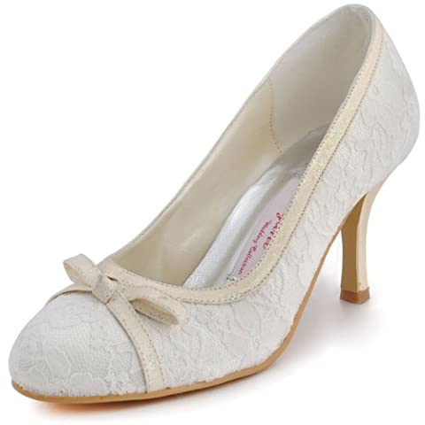 ElegantPark EL-029 Women Closed Toe Pumps Stiletto Heel Bow Satin