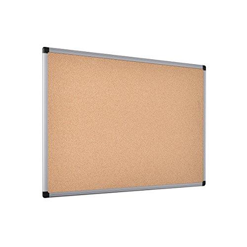Bi-Office Pannello In Sughero Maya Con Cornice In Alluminio, Bachecha Per Avvisi In Sughero Elastico ed Auto-Rigenerante, 90 x 60 cm