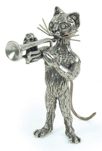 Chat Trompette Miniature - Etain 95,5% - Fabriqué en France - Objet déco - Cadeau musique
