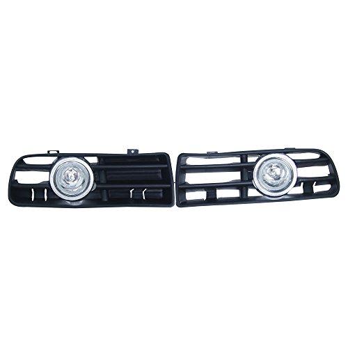 Custom OEM Replacement 2x Front Clear Lens Amber Fog Lights Lamp & Side Grilles With CCFL Left Right 12V for 1999-2004 Volkswagen Golf MK4