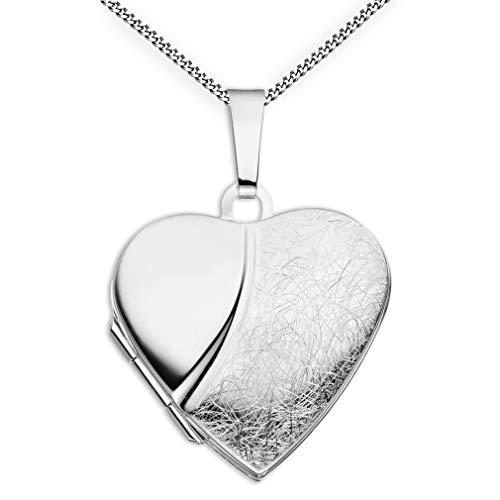 Medaillon Herz eismattiert mattiert verziert 925 Sterling Silber zum öffnen für Bildereinlage 2 Fotos Amulett + Kette mit Schmuck-Etui von Haus der Herzen® (Silber Medaillon Herz)