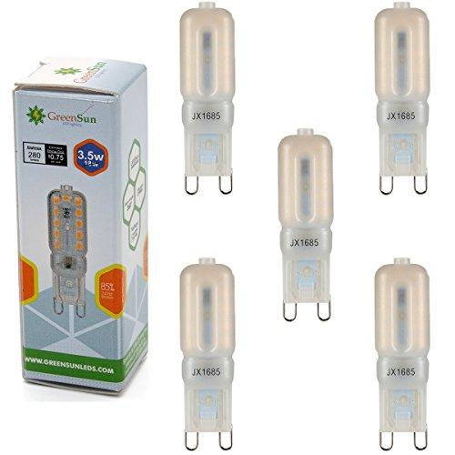 Preisvergleich Produktbild GreenSun LED Lighting 5er-Pack 3, 5W G9 LED Lampe 280Lumen Ersatz für 30W Halogenlampe Energiesparlampe Glühbirne 220V Stiftsockel Warmweiß Leuchtmittel Sparlampe