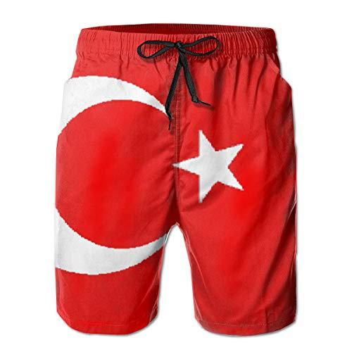 Ye Hua Türkei Flagge Herren Badehose Sommer Cool Quick Dry Board Shorts Badeanzug mit Seitentaschen Mesh Futter XXL -