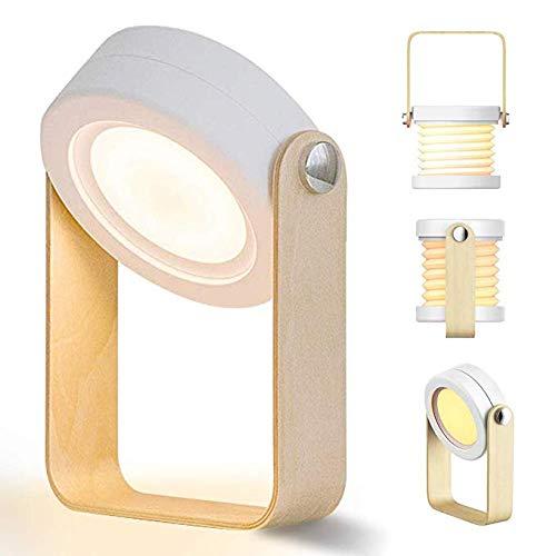 Ankamal Elec Nachttischlampe Touch Dimmbar, Nachttischlampe LED Nachtlicht Laterne Vintage Nachttischlampe, Klappbare Tragbare Tischlampe mit Touchfunktion Nachttisch-Leuchte für Schlafzimmer (white) - Led-vintage Laterne