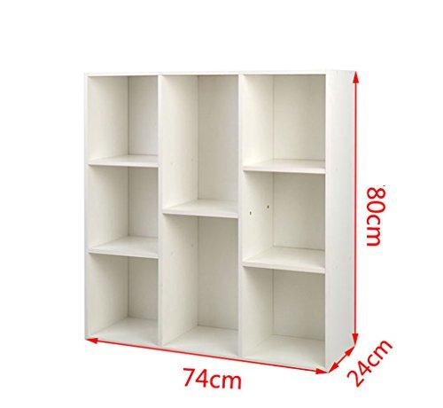 Estantería, estantería de madera blanca de madera de múltiples capas Caja de almacenamiento