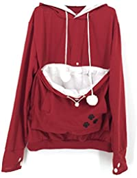 Sudadera bolso para mascota con capucha Saianke para mujeres, con bolsillo canguro para transportar perros