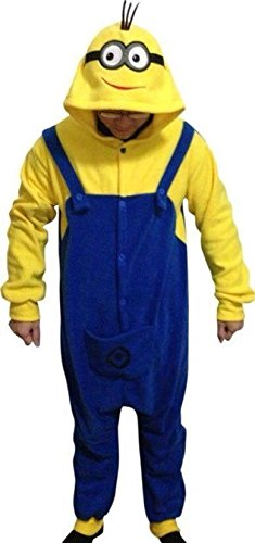 Despicable Me Strampler - Erwachsene Unisex Schergen Pyjama Schlafanzug oder Kostüm Outfit - Halloween Cosplay Kostüm Kleidung Film (M) (Minion Kostüme Für Erwachsene)