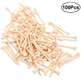 VORCOOL 100pcs/Set Golf Tees Solid Wooden Golf Ball Nails Outdoor Sports Golf Tees Golf Training Equipment Golf Supplies Accessories For Golfer(7cm )