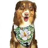 Gxdchfj Water Lilly Flowers Pattern Fashion Dog Bandanas Bibs Scarfs Pet Scarfs Cats Dog Scarf