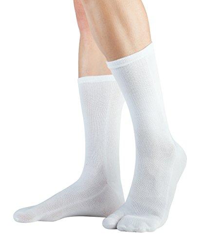 Knitido Traditionals Tabi, klassische wadenlange Zwei-Zehen-Socken aus Japan, Größe:39-42, Farbe:Weiß