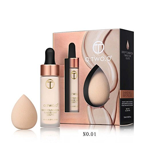 Full Coverage Liquid Foundation Makeup Drops with Puff Set to Smoother your Skin ROMANTIC BEAR (Farbe 01) -