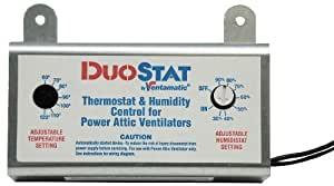 Ventamatic XXDUOSTAT Doppelter, Verstellbarer Thermostat, Hygrostat, Fernbedienung für Power Dachboden Ventilatoren