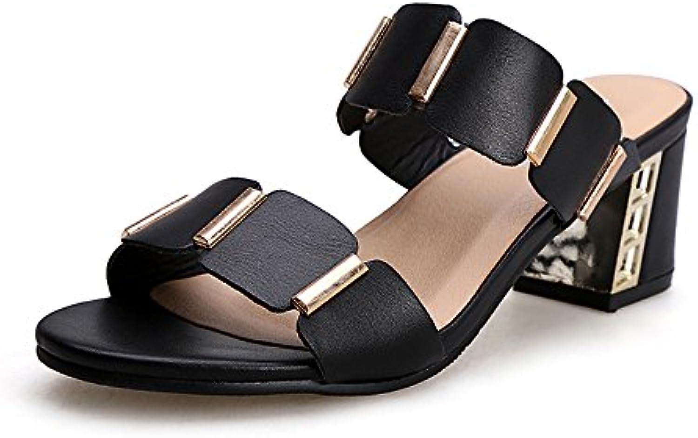 MEIDUO sandalias Blanco y Negro Zapatillas de tacón alto de tacón alto de las mujeres Talón al aire libre de las...