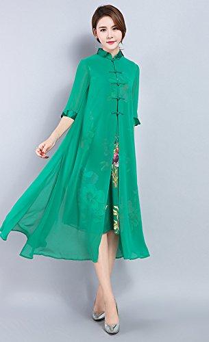 LAI MENG Vintage Damen chinesischen Stil 2 in 1 Design Elegant Lose A-Line Kleider mit Blumenstickerei Rockabilly Swing Kleider Green
