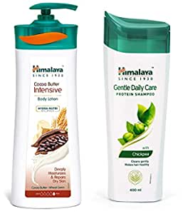 Himalaya Herbals Cocoa Butter Intensive Body Lotion, 400ml & Himalaya Herbals Protein Shampoo with Chickpea, Gentle Daily Care, 400ml