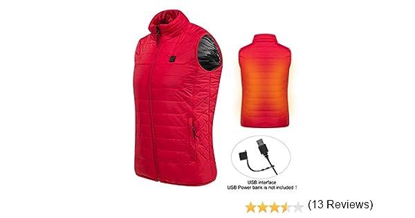 Ciclismo Escursioni Hivexagon Gilet Imbottito Smanicato Isolante riscaldato a Batteria con Cerniera e Dettagli in Rete Ideale per attivit/à allaperto Unisex Riscaldamento Tramite USB