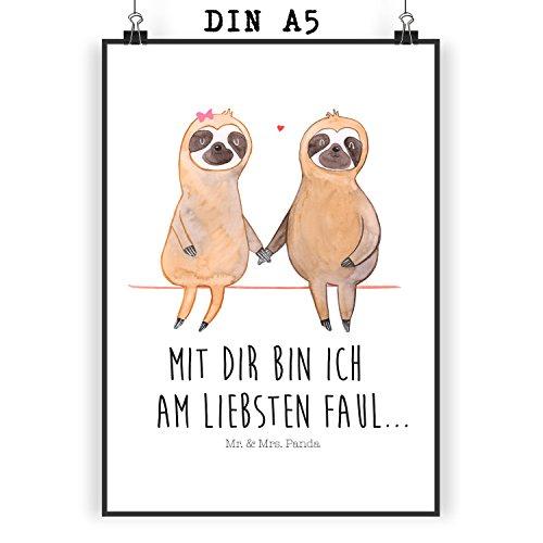 Mr. & Mrs. Panda Geschenk, Wandposter, Poster Din A5 Faultier Pärchen mit Spruch - Farbe Weiß