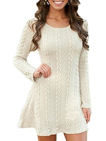 Summer Mae Women's Long Sleeve Plain A Line Cable Knit Sweater Dress