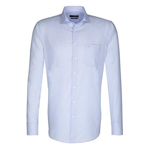 Seidensticker Herren Langarm Hemd Splendesto Regular Fit Spread Kent blau / weiß strukturiert 110520.12 Blau