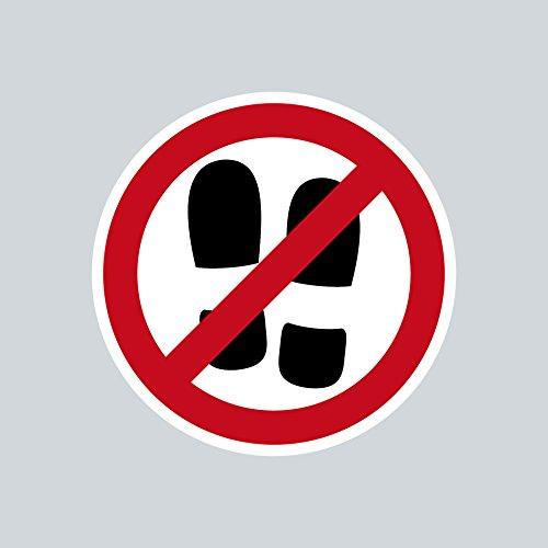 Aufkleber Sticker 4cm ORACAL Schuhverbot mit Schuhen Betreten Verboten Symbol Zeichen Warnhinweis (3) (Symbol Weiß Schuhe)