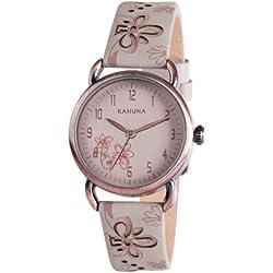 Kahuna Women's Quartz Watch with Beige Dial Analogue Display and Beige PU Strap KLS-0254L