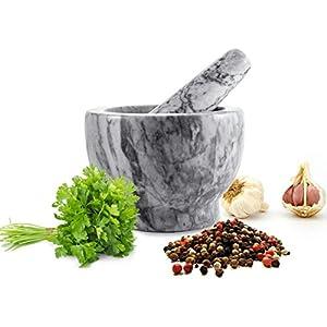 Sendez Mörser mit Stössel 2tlg aus Marmor Ø13 Schlegel Zerkleinerer Gewürzmörser 2,3 kg