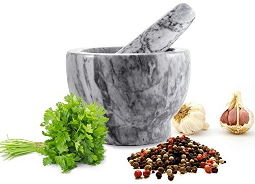 Sendez Mörser mit Stössel 2tlg aus Marmor Ø13 Schlegel Zerkleinerer Gewürzmörser 2,3 kg -