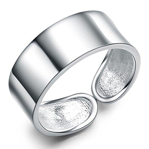 Unendlich U 925 Sterling Silber Rhodium Plated verstellbarer Simpel Stil Daumen Ring Größe 56 für Damen/Mädchen