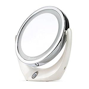 BROADCARE Kosmetikspiegel LED Beleuchtet Spiegel 1X/ 5X DoppelseitigerVergrößerungsspiegel Schminkspiegel Standspiegel Für Make-Up, Rasieren