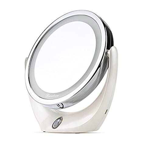 BROADCARE Kosmetikspiegel LED Beleuchtet Spiegel 1X/ 5X DoppelseitigerVergrößerungsspiegel Schminkspiegel Standspiegel Für Make-Up, (Doppelseitige Beleuchteter Make-up-spiegel)