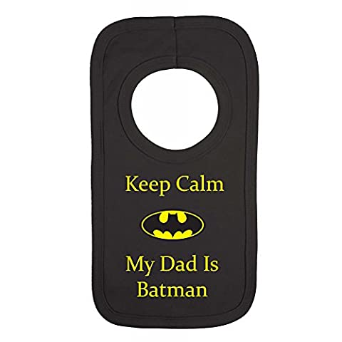 PERSONALISED BABY BIB - MY DAD IS BATMAN - (NO
