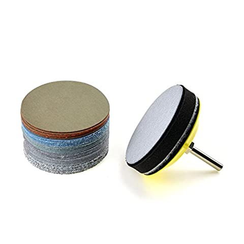 3 inches Multiple Grits Aluminum Oxide White Dry & Wet/Dry Hook and Loop Sanding Discs with a 1/4 inch Shank Backing Pad + Soft Foam Buffering Pad, 5-pieces Each of 60, 240, 600, 1000, 5000, and 10000 Grits