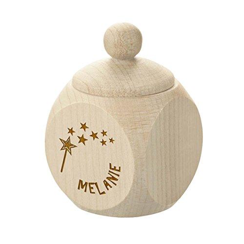 polar-effekt Milchzahndose aus Holz Personalisiert mit Gravur - Kinder Zahndose für Milchzähne zum Aufbewahrung - perfekt als kleines Geschenk - Motiv Zahnfee für Mädchen