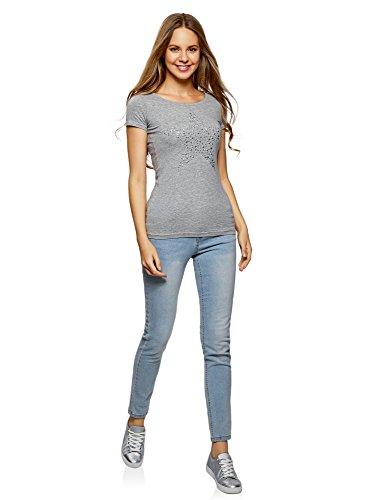 oodji Ultra Damen T-Shirt mit Stern Aus Strasssteinen Grau (2391P)