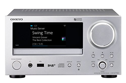 Onkyo CR-N775D(S) Netzwerk CD-Receiver (Wiedergabe von Audio CD/CD-R/CD-RW/MP3 CD, Multiroom, WLAN, Bluetooth, Streaming, Musik Apps, Spotify, Tidal, Deezer, DAB+, Aluminium Front), Silber