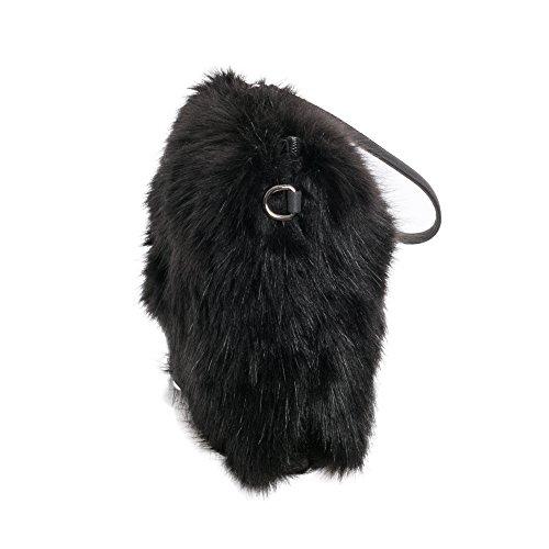 BORSA PELLICCIA Borsa a tracolla da pelliccia sintetica capelli lunghi Borsa a tracolla tukf0202 Nero