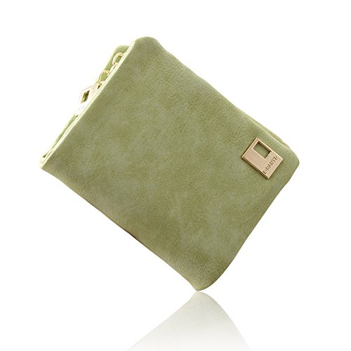 Woolala Donna Nabuk Breve Portafogli Trifold Mini Borsa Slot Multi Card Con Tasca Con Zip Monete, Caffè Light Green