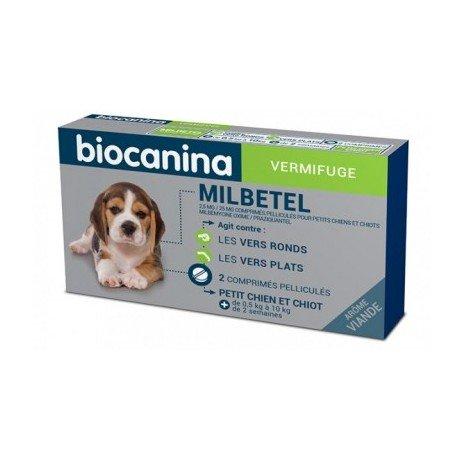 Biocanina Milbetel vermifuges pour petits chiens et chiots 2 comprimés