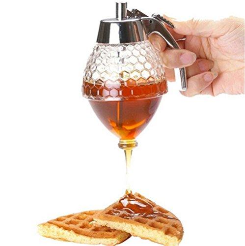 ihrkleid miel Pera/dosificador de miel con Stand miel dispensador de retención de retención de Sirup Dispenser acrílico–Olla con soporte Capacidad: 200ml, panal de abeja, vidrio/plástico, transparente/plata