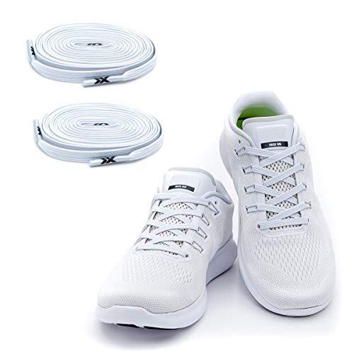 MAXXLACES - Cordones elásticos y planos, tensión ajustable para no tener que atar los zapatos, fáciles de usar, compatibles con todos los zapatos