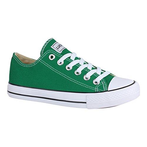 Elara Unisex Sneaker | Bequeme Sportschuhe für Damen und Herren | Low Top Turnschuh Textil Schuhe 01-A-CA01-Green-41