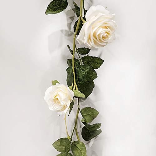 (JFKJJY Künstliche Rose 1 STÜCKE Silk Plastic Rose Garland Pflanze Cane 180 cm Geeignet für Hochzeitsfest Garten Wand Gartendekoration)