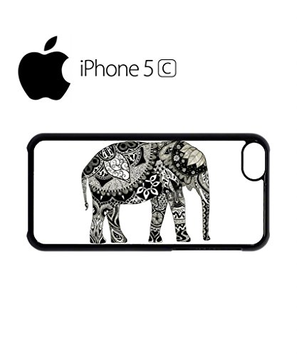 Elephant Drawing Ethnic Pattern Mobile Cell Phone Case Cover iPhone 5c Black Weiß