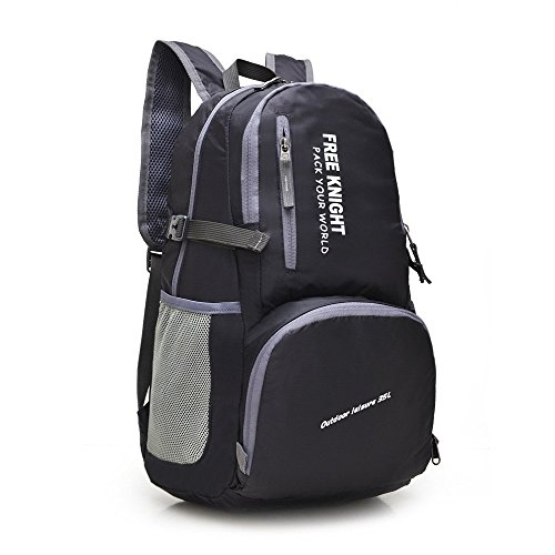 Yueer 35l zaino da viaggio outdoor spalle alpinismo sport borsa per il tempo libero nylon impermeabile pieghevole borsa di stoccaggio,black
